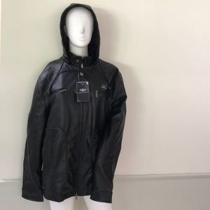 NWT Emporio & Co men's hooded leather jacket